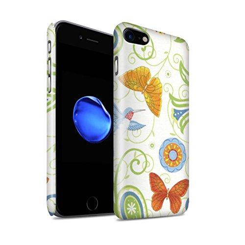 STUFF4 Glanz Snap-On Hülle / Case für Apple iPhone 8 / Grün/Weiß Muster / Frühlingszeit Kollektion Grün/Weiß
