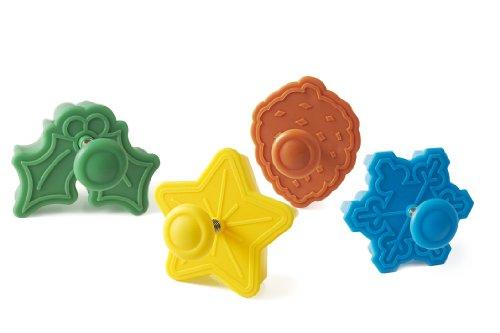 Wonder Cakes by Silikomart 70.123.99.0069 Lot de 4 Découpoirs en Plastique Thème Noel, Vert/Jaune/Orange/Blue, 5 x 12 x 12 cm