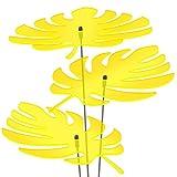 SUNPLAY Sonnenfänger - Palmen-Blatt Set - 3X Gelb- Ø 20 cm Durchmesser + Schwingstäbe