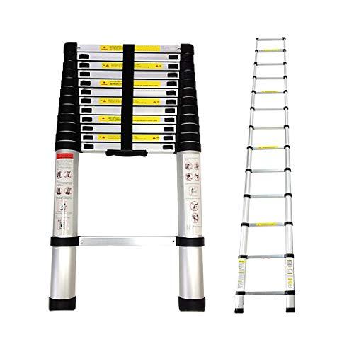 Todeco - Teleskopleiter, Klappleiter - Maximale Belastbarkeit: 150 kg - Standard/Zertifizierung: EN131-3,8 Meter, GRATIS Tragetasche, EN 131