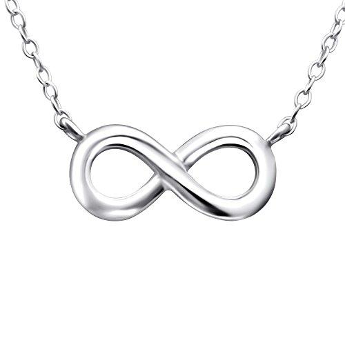 Laimons Damen-Halskette Unendlichkeit Symbol glanz zierliche 45cm Kette Sterling Silber 925