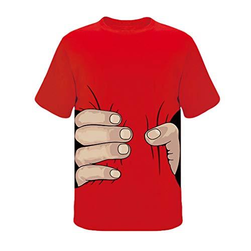 7 Farbe Herren Lustige 3D Druck T Shirt Top Männer Bequem Kurzarm Freizeithemd Sommer Bluse Sport Fitness Oberteile Business Oberteil Tees Slim Hemd Schwarz, Blau, Grün, Grau, Rot(rot.L) Rock Roll Baby Onesies