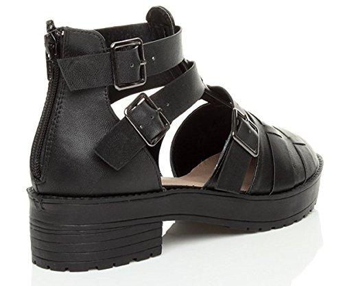 Damen Ausgeschnitten Schnalle Profilsohle Sandalen Stiefeletten Größe Schwarz