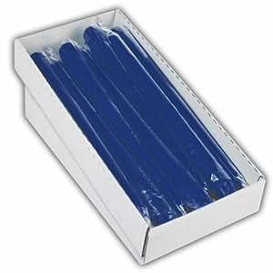Papstar - Lot de 12 x Bougies de chandelier Ø 2,2 cm 25 cm bleu foncé emballés séparément