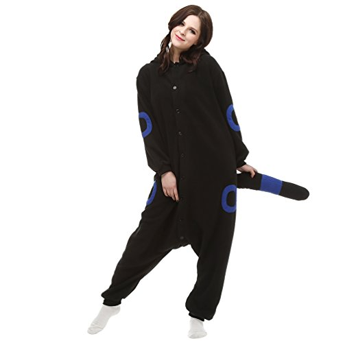 MissFox Adulte Animal Style Kigurumi Anime Pyjamas Onesie Cospaly Soirée de Déguisement Bleu Lune Elfe (Polaire toison)