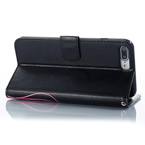 Case MAGQI iPhone 7 Plus / 8 Plus 5.5 Custodia,Morbido Durevole Portafoglio in Pelle PU Premium Rosa Farfalla Embossed Fiore Modello Copertina Basamento del Telefono Flip Stile Libro Copertura Prote Nero