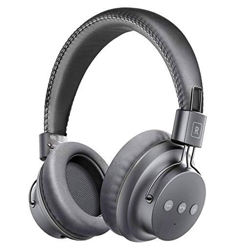 Mpow H1 Bluetooth Kopfhörer Over Ear, Over Ear Kopfhörer mit leichtem Rückstellschaum Ohrpolster & Dual 40mm Treiber, 20 Stunden Spielzeit, Perfekt Bass für Smartphone/PC/TV - Total Fett