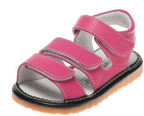 Little blue lamb squeaky chaussures sandales velcro rose