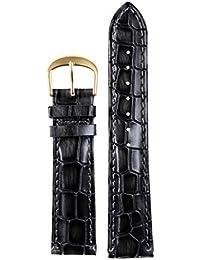 18 mm correas de reloj de cuero negro de lujo de los hombres genuinos correas reemplazos del grano del cocodrilo en relieve pesada genuina piel de vaca italiana