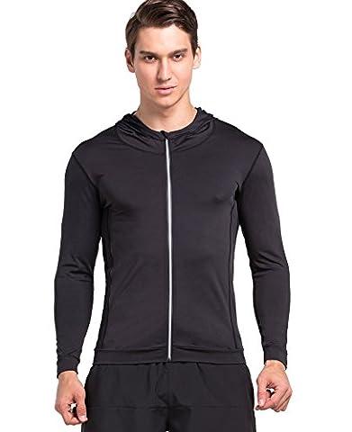 Cody Lundin Garçon Mode Confortable Sport et Loisirs Sweat-shirt à Capuche Zippé Couleur Unique Manches Longues pour Homme (L, Noir)