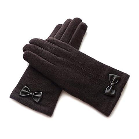 DIDIDD Damen Herbst und Winter Doppel dicke warme Handschuhe,Kaffee,Einheitsgröße