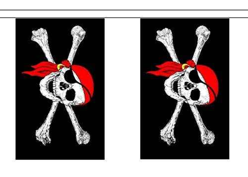 Crâne et os croisés pirate Bandana rouge Polyester Drapeau Guirlande 9 m (30 ') avec 30 fanions