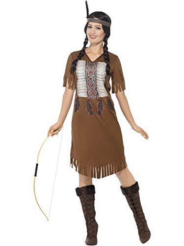 costumebakery - Damen Frauen Indianer Kriegerin - Prinzessin Squaw Kostüm mit Kleid und Kopfschmuck, perfekt für Karneval, Fasching und Fastnacht, S, ()
