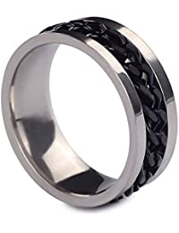 D&M Jewelry Anillo de Acero de Titanio con Cadena Negro/ Dorado/ Plateado, Anillo