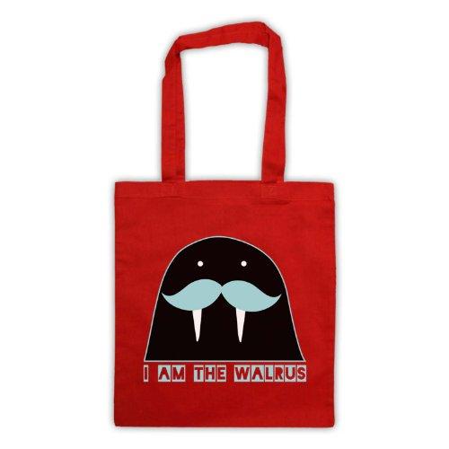 I Am il tricheco Slogan Tote Bag Rosso