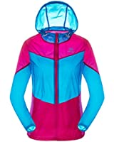 TECTOP Womens Windproof Rain Jacket Skin Protection Anti-UV Hoodie Girl Joint Color Coat Clothes Size S/M/L/XL/XXL 3 Colors Available