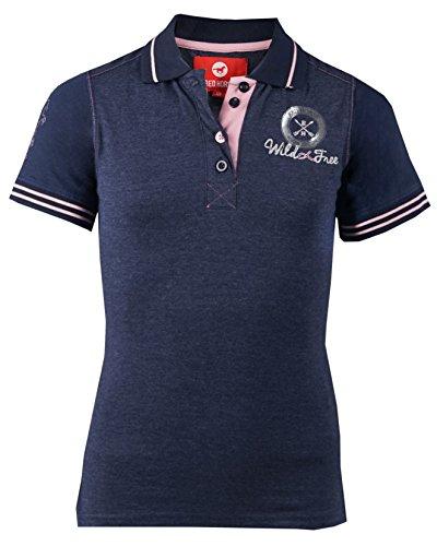 Equipride rot Pferd Mädchen Polo Shirt Filly Alter 4–5bis 17Jahre, Nacht Blau, 8-9 yeas 128 EU