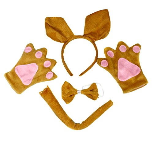 Petitebelle Kangaroo Headband Bowtie Tail Gloves Costume Party for Adult (One ()