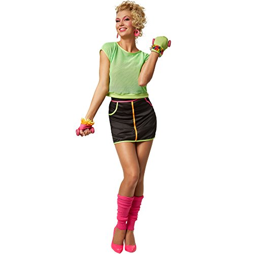 5 Piece 80s Fitness Outfit for Ladies. Includes fingerless gloves, knitted leg warmers, mesh top with stretch hem and stretchy mini skirt with zip.