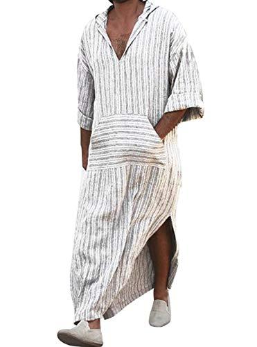 Zolimx Herren Ethnische Roben Lose Gestreiften Langarm mit Kapuze Vintage V-Ausschnitt Casual Kleid Kaftan (Weiß, XL)
