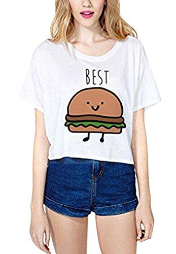 *Damen Kurzarmshirt mit Aufdruck Pommes Frites Hamburger T Shirt Mit Cartoon Best Friends Sommer Tops, M(EU 38), Weiss*