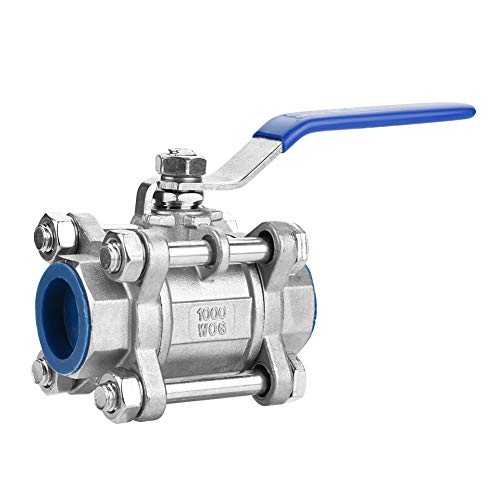 Akozon Full Port Ball Valve Female 304 Edelstahl dreiteilige Full Port Female Kugelhahn 3/4