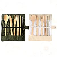 LIOOBO 2 Sets Portable Bamboo Tableware Kit Eco-Friendly Outdoor Flatware Travel Food Serving Cutlery Set (Beige and Army Green)