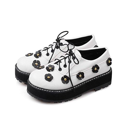 AllhqFashion Femme Rond Lacet Pu Cuir Floral à Talon Correct Chaussures Légeres Blanc