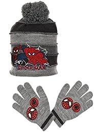Bonnet et gants enfant garçon Spider-man Gris et Bleu de 3 à 9ans