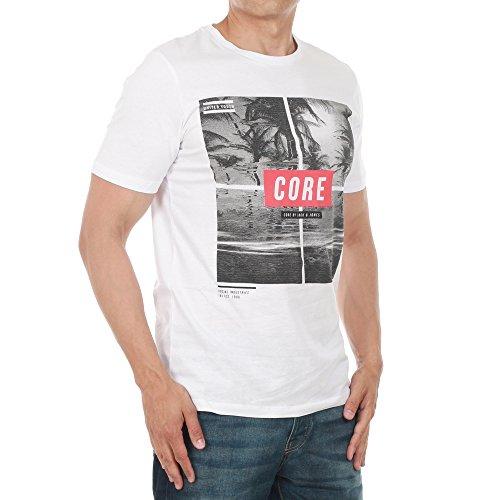 JACK & JONES Herren Oberteile/T-Shirt jcoMango Fire White FitSLIM MANGO