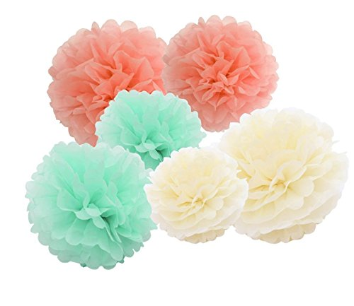 12pcs mint cream peach hanging tissue paper pom poms - Baby deko mint ...