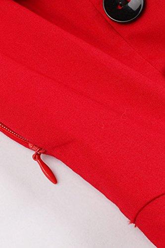Robe Femme Chic de Soirée Imprimée à Carreaux Vintage années 1950s Elégante avec Bouton Swing Rockabilly en Coton Grande Taille par MisShow Rouge