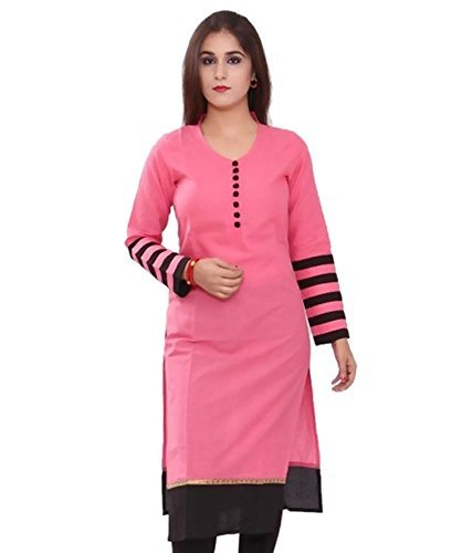 Jashvi Creation Women\'s Regular Wear Kurti(Pink_KC_357)