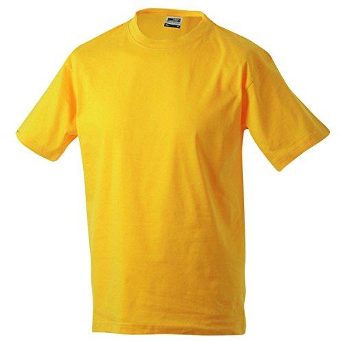 JAMES & NICHOLSON -  T-shirt - Basic - Collo a U  - Maniche corte  - Uomo jaune d'or