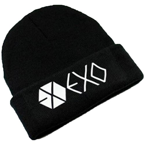 Partiss Unisex KPOP Idol-Gruppe Winter Schwarz Hip-Hop Muetze Casual Freizeit Warm...