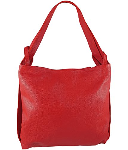 Freyday 2in1 Damen Handtasche Rucksack Designer Luxus Henkeltasche aus 100% Echtleder (Rot)