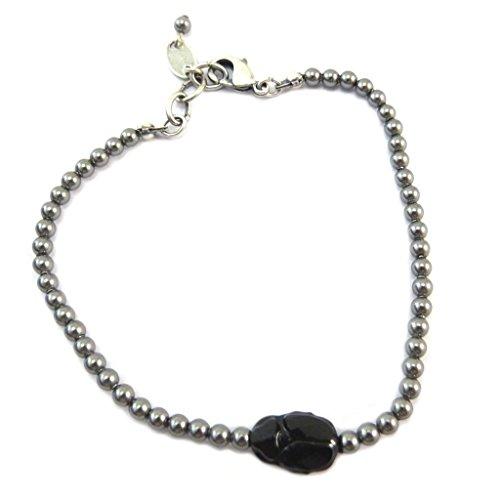 Lily-Crystal [P6674] - Handgefertigtes armband 'Tsarine' grau schwarz silber (käfer)- 3 mm, 11x8 mm. - Lily, Die Elf-prinzessin