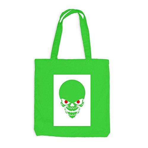 Jutebeutel - Red Eyed Halloween Skull Horror - Skelett Bone Trick Or Treat Hellgrün