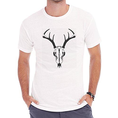 Deer Animal Wood Creature Horns Skull White Herren T-Shirt Weiß