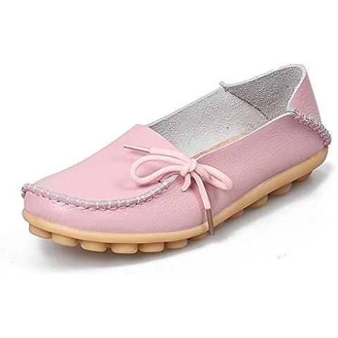 Auspicious beginning Scarpe mocassino pantofola barca casualei allacciare delle (Gomma Da Masticare Rosa Pelle)