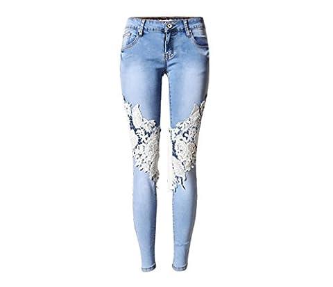 Byjia Femmes Jeans High Waisted Denim Disco Skinny Stretchy Zipper Leggings De Poche Pantalons Trous Pantalon En Dentelle Creuse Mince Pencil . Blue . 32