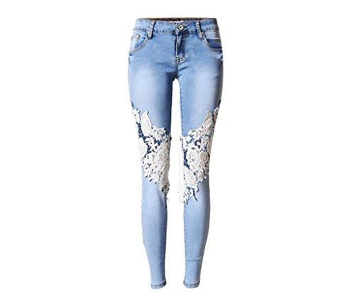 Wgwioo Frauen Jeans High Waisted Denim Disco Skinny Stretchy Reißverschluss Tasche Leggings Hosen Löcher Hollow Lace Slim Bleistift Hose Blue 40 (High Levis Waisted Jeans Frauen)