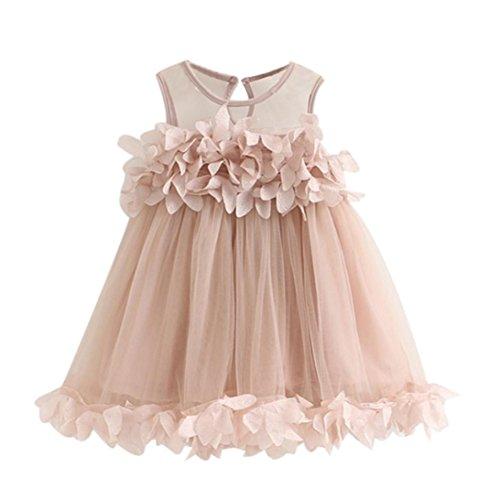 Mädchen Kleid Internet Süße Spitze chiffon Kleid (rosa, 110) (Bett-jacke Spitze)