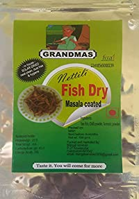Grandmas Masala-Coated high Quality in-House Solar Dried (suka machali) nettili Dry Fish - anchovies | Head and Tail Already Removed | no Wastage | 200 GMS Pack of 2 | Masala Coated