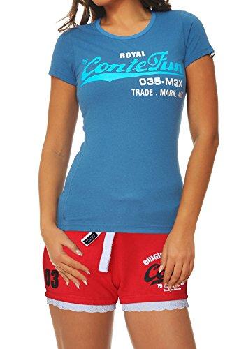 M.Conte Damen T-Shirt Kurzarm T Sweat-Shirt Neon-Pink Lila Grau Blau Rose Rot Grün Schwarz S M L XL Farbe Royal-Blau Größe M - Damen Schwarz Polo Pullover