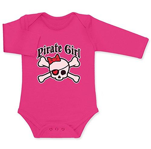 Süßes Geschenk für Baby Mädchen - Pirate Girl Baby Langarm Body 62/68 (3-6M) wow rosa