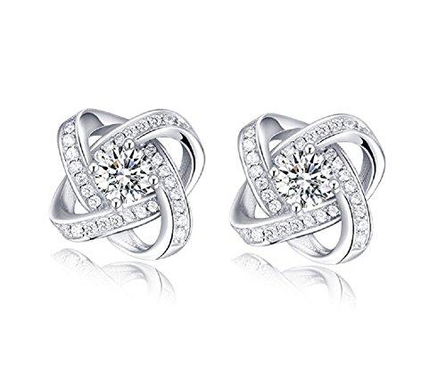 Butterme Fiore di modo di diamante nodo 925 Cristalli Argento Orecchini lucidi della vite prigioniera per le donne ragazze orecchini gioielli