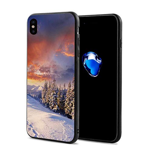f9b32c85048f ZZHOO Compatible with iPhone X Case,Epic Cloudy Sky Over Majestic Mountains  and Footsteps on Valley Design,Soft Rubber Phone Case Cover