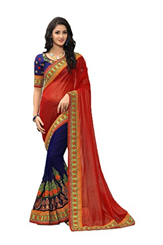 4f82e607c75 PinkCityCreations Indian Sarees for Women Partywear Ethnic Traditional Red  Sari