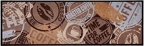 Küchenläufer Küchenteppich Küchendeko Teppichläufer Küchen Matte Läufer Teppich Deko waschbar robust modern Größe 150x50 cm 13 verschiedene Motive und Farben (Coffee Stamp Braun)